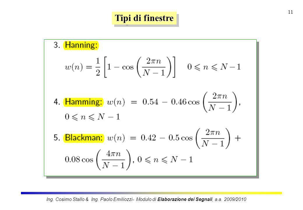 11 Tipi di finestre Ing. Cosimo Stallo & Ing. Paolo Emiliozzi- Modulo di Elaborazione dei Segnali, a.a. 2009/2010