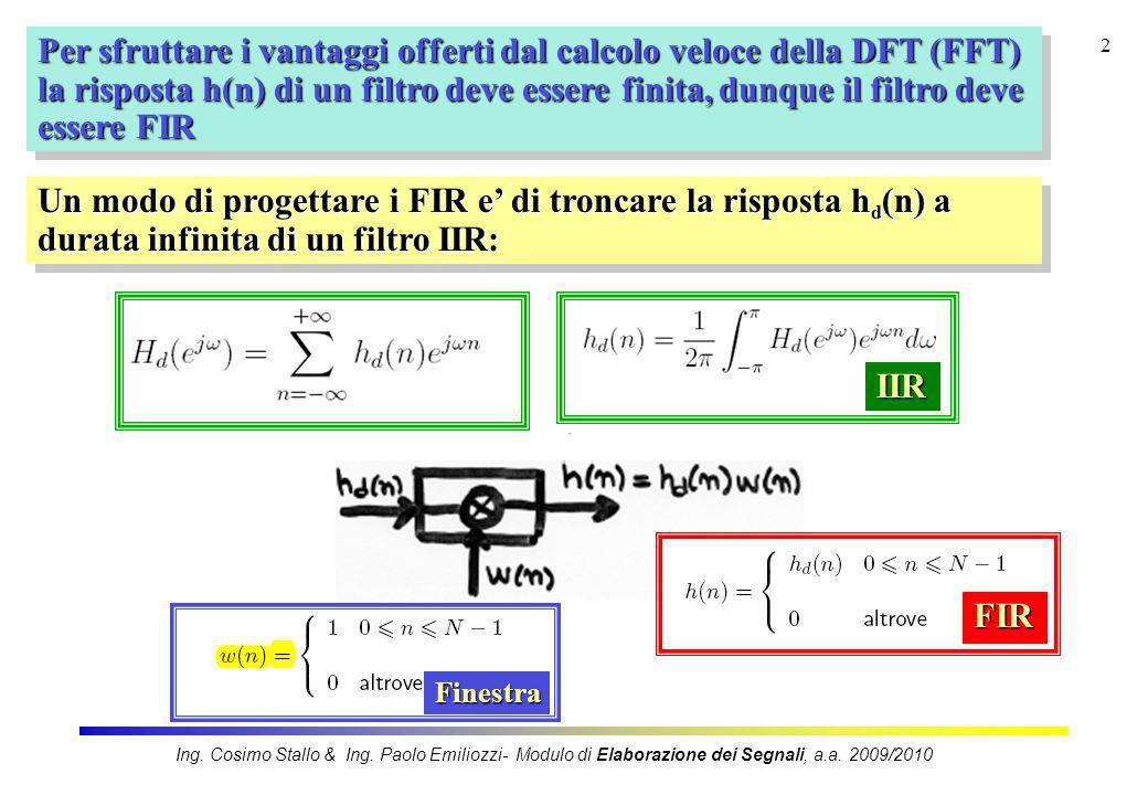 3 La finestrazione nel tempo con w(n) produce in frequenza i seguenti effetti: Pertanto, la risposta in frequenza del filtro IIR e quella del filtro FIR ottenuto con il troncamento nel tempo sono DIVERSE e, purtroppo: Ing.