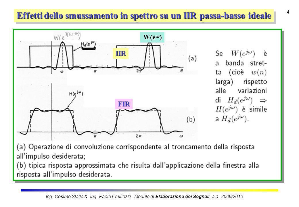 4 Effetti dello smussamento in spettro su un IIR passa-basso ideale IIR W(e i ) FIR Ing. Cosimo Stallo & Ing. Paolo Emiliozzi- Modulo di Elaborazione