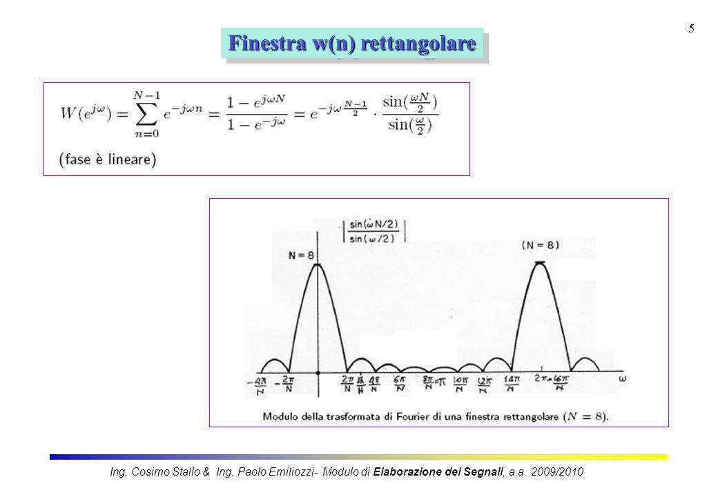 5 Finestra w(n) rettangolare Ing. Cosimo Stallo & Ing. Paolo Emiliozzi- Modulo di Elaborazione dei Segnali, a.a. 2009/2010