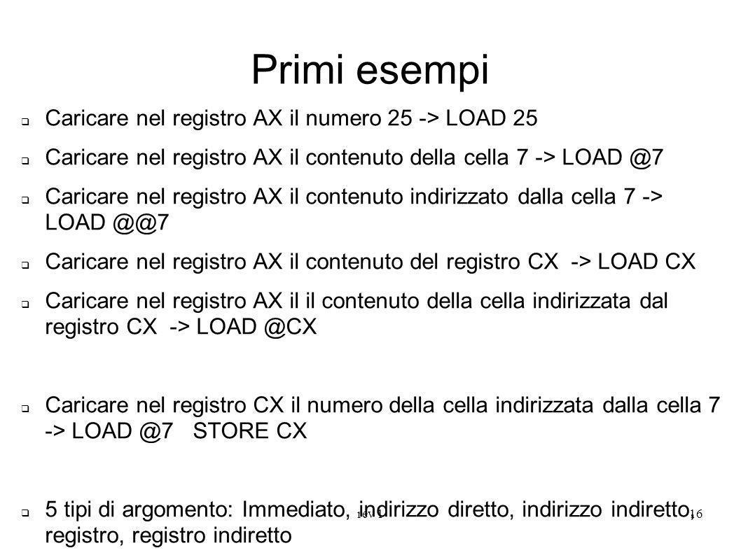 rev 116 Primi esempi Caricare nel registro AX il numero 25 -> LOAD 25 Caricare nel registro AX il contenuto della cella 7 -> LOAD @7 Caricare nel regi