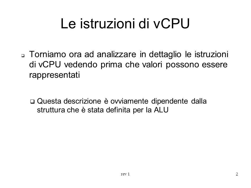 rev 12 Le istruzioni di vCPU Torniamo ora ad analizzare in dettaglio le istruzioni di vCPU vedendo prima che valori possono essere rappresentati Quest