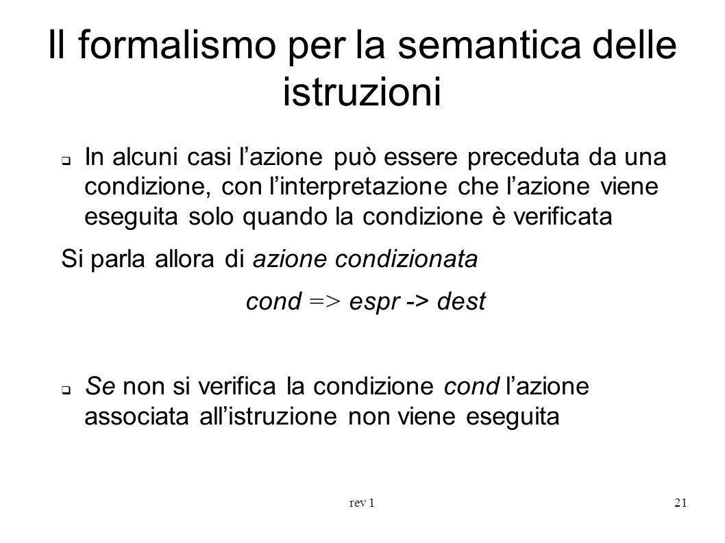 rev 121 Il formalismo per la semantica delle istruzioni In alcuni casi lazione può essere preceduta da una condizione, con linterpretazione che lazion
