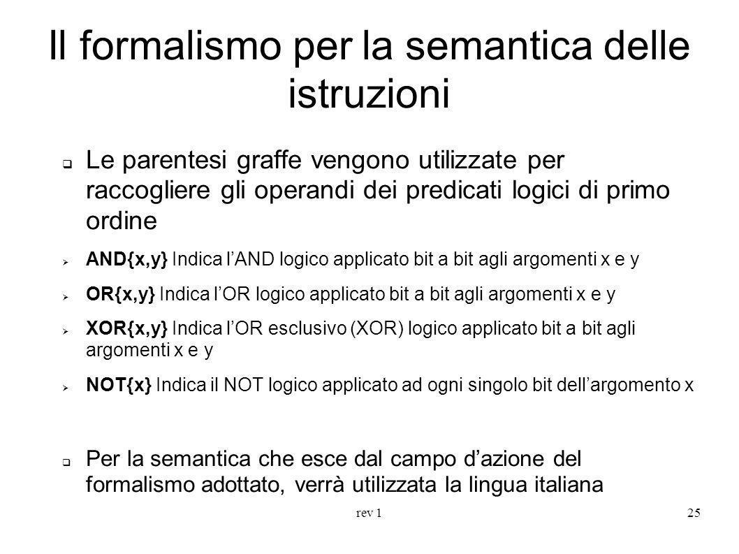 rev 125 Il formalismo per la semantica delle istruzioni Le parentesi graffe vengono utilizzate per raccogliere gli operandi dei predicati logici di pr