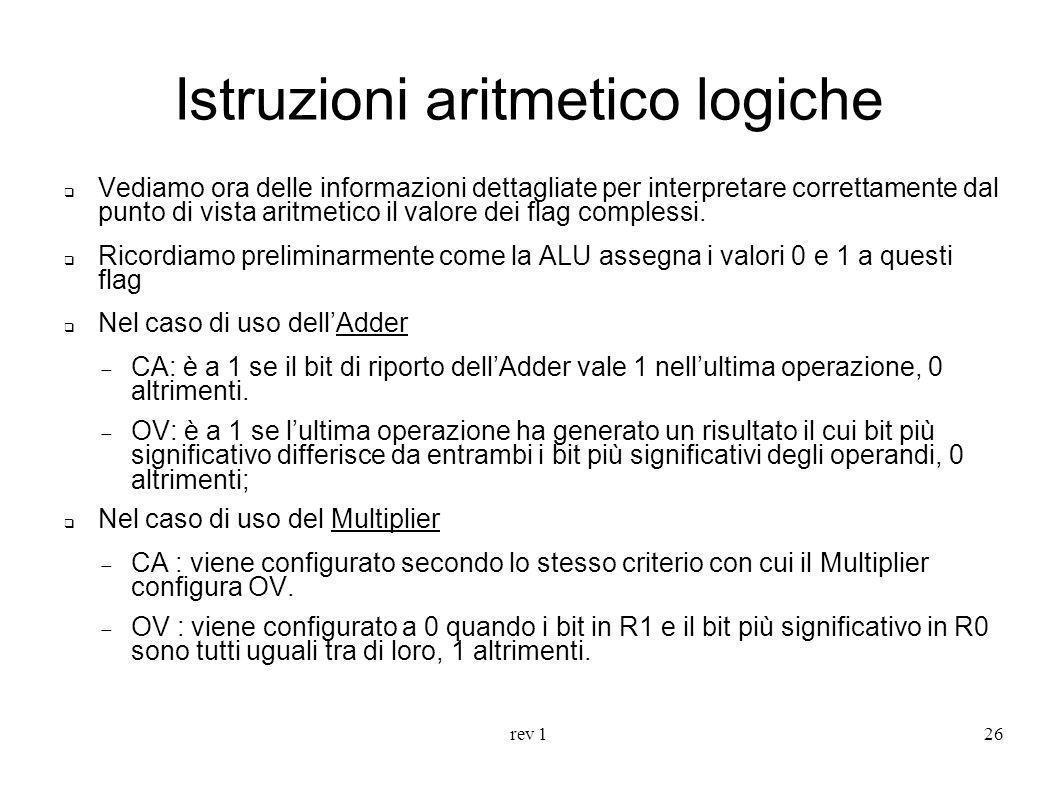 rev 126 Istruzioni aritmetico logiche Vediamo ora delle informazioni dettagliate per interpretare correttamente dal punto di vista aritmetico il valor