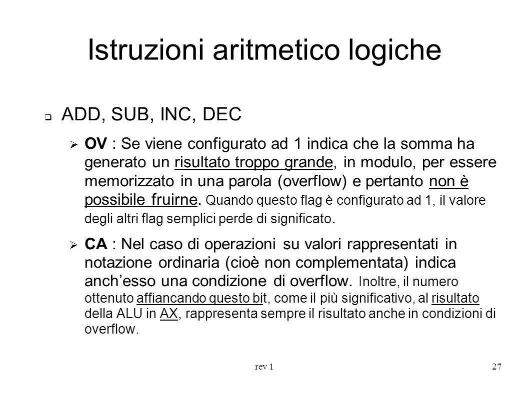 rev 127 Istruzioni aritmetico logiche ADD, SUB, INC, DEC OV : Se viene configurato ad 1 indica che la somma ha generato un risultato troppo grande, in