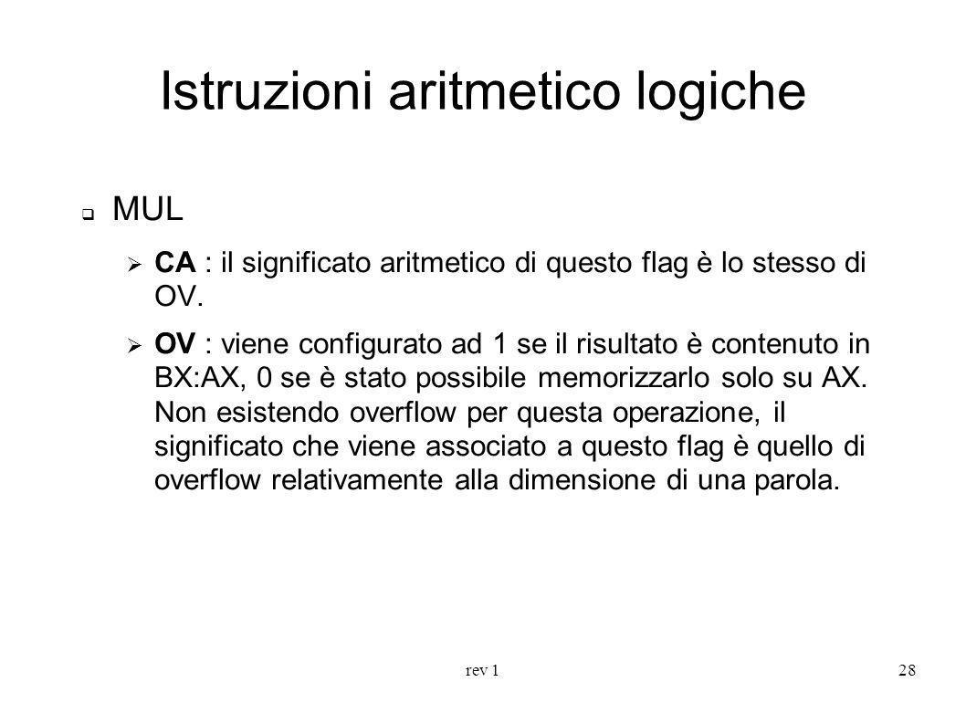 rev 128 Istruzioni aritmetico logiche MUL CA : il significato aritmetico di questo flag è lo stesso di OV. OV : viene configurato ad 1 se il risultato