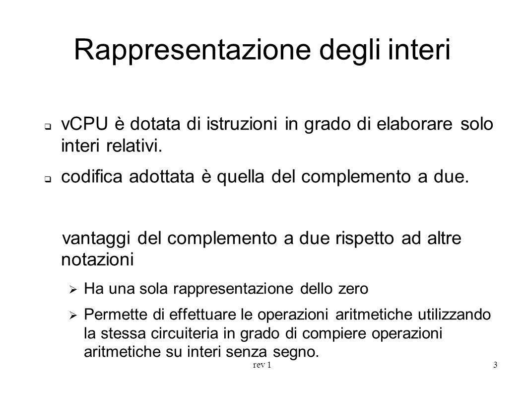 rev 13 Rappresentazione degli interi vCPU è dotata di istruzioni in grado di elaborare solo interi relativi. codifica adottata è quella del complement