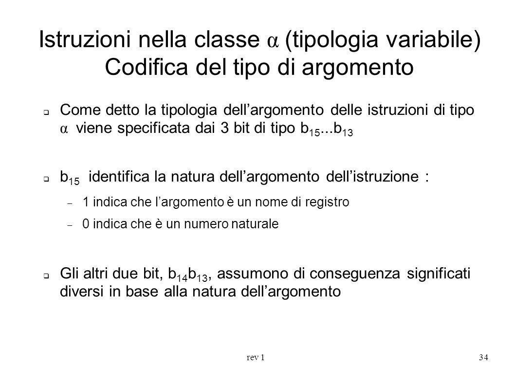 rev 134 Istruzioni nella classe α (tipologia variabile) Codifica del tipo di argomento Come detto la tipologia dellargomento delle istruzioni di tipo