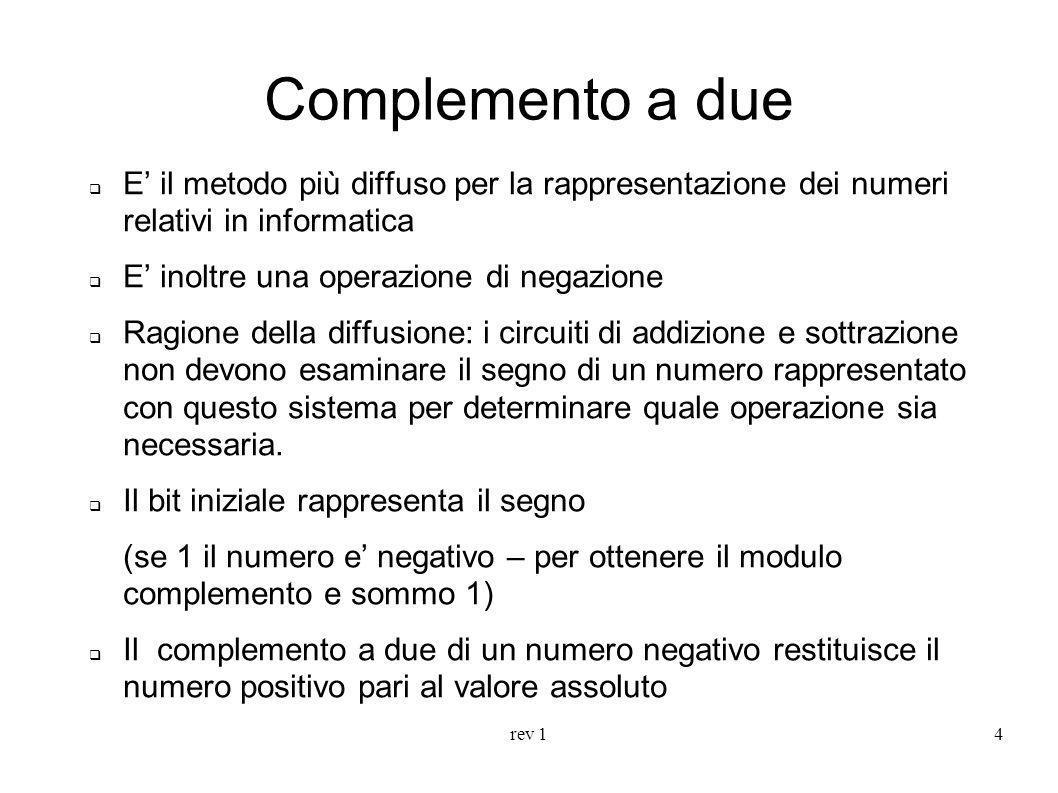 rev 15 Complemento a due Esempio: Rappresentiamo il numero -5 con 8 bit in complemento a due.