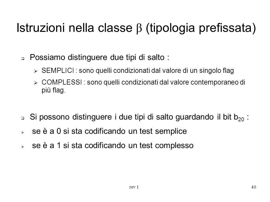 rev 140 Istruzioni nella classe β (tipologia prefissata) Possiamo distinguere due tipi di salto : SEMPLICI : sono quelli condizionati dal valore di un