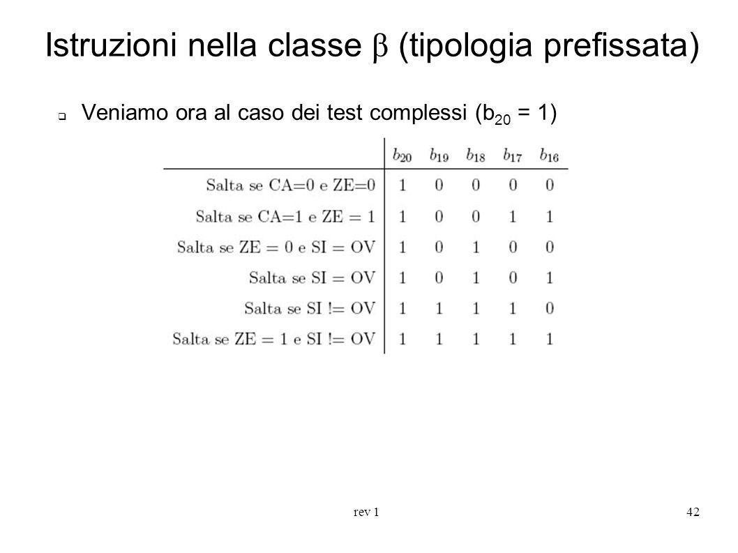 rev 142 Istruzioni nella classe β (tipologia prefissata) Veniamo ora al caso dei test complessi (b 20 = 1)