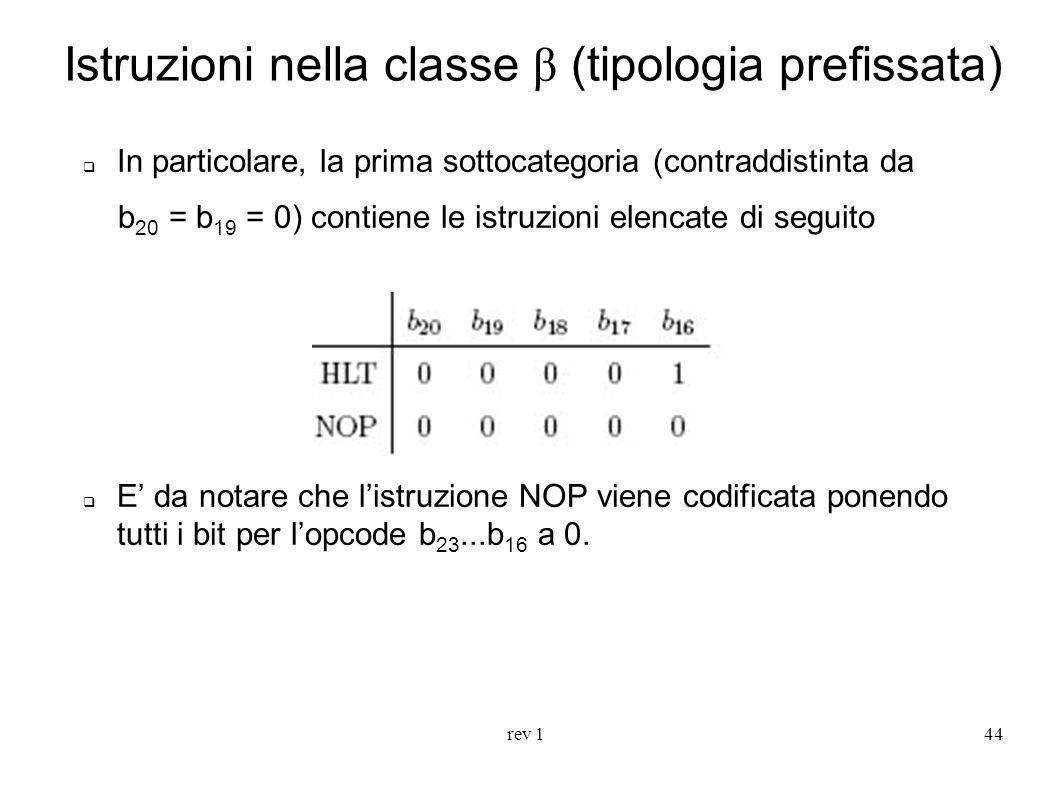 rev 144 Istruzioni nella classe β (tipologia prefissata) In particolare, la prima sottocategoria (contraddistinta da b 20 = b 19 = 0) contiene le istr