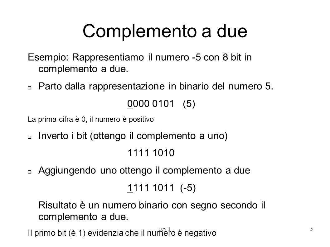 rev 15 Complemento a due Esempio: Rappresentiamo il numero -5 con 8 bit in complemento a due. Parto dalla rappresentazione in binario del numero 5. 00