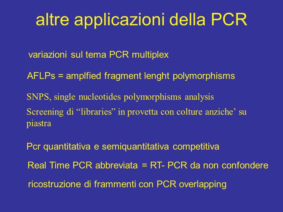 criteri per PCR multiplex I criteri principali sono la compatibilità dei primers: -TM omogenea - assenza di annealing spuri combinati tra coppie diverse - assenza di annealing tra primers - controllo delle amplificazioni desiderate Vantaggi: - risparmio di tempo e materiali; - con una PCR se ne fanno molte, purchè si distinguano i prodotti Le PCR Multiplex Vanno messe a punto e dosati i primers per ottenere quantità omogenee di amplificati osservabili su gel, con Real-Time o LC