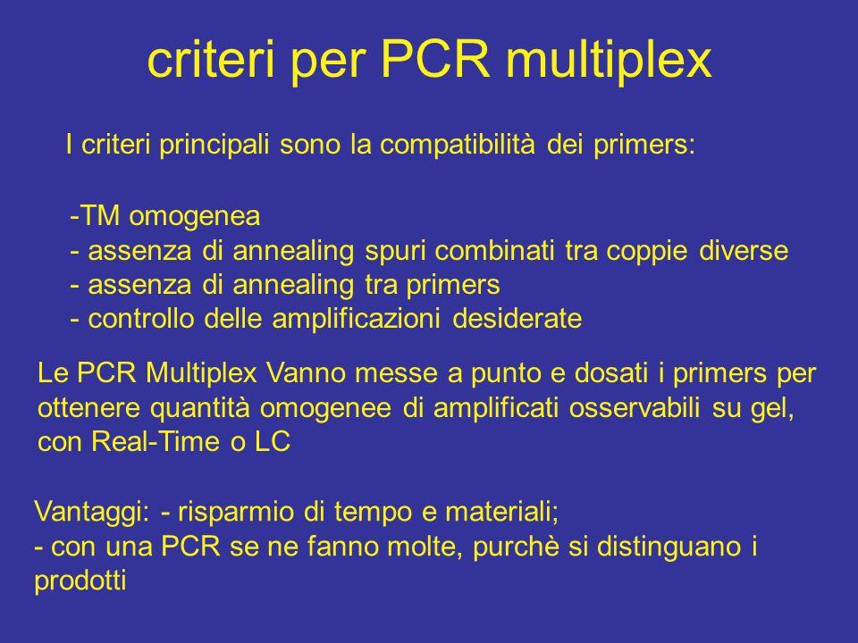 criteri per PCR multiplex I criteri principali sono la compatibilità dei primers: -TM omogenea - assenza di annealing spuri combinati tra coppie diver