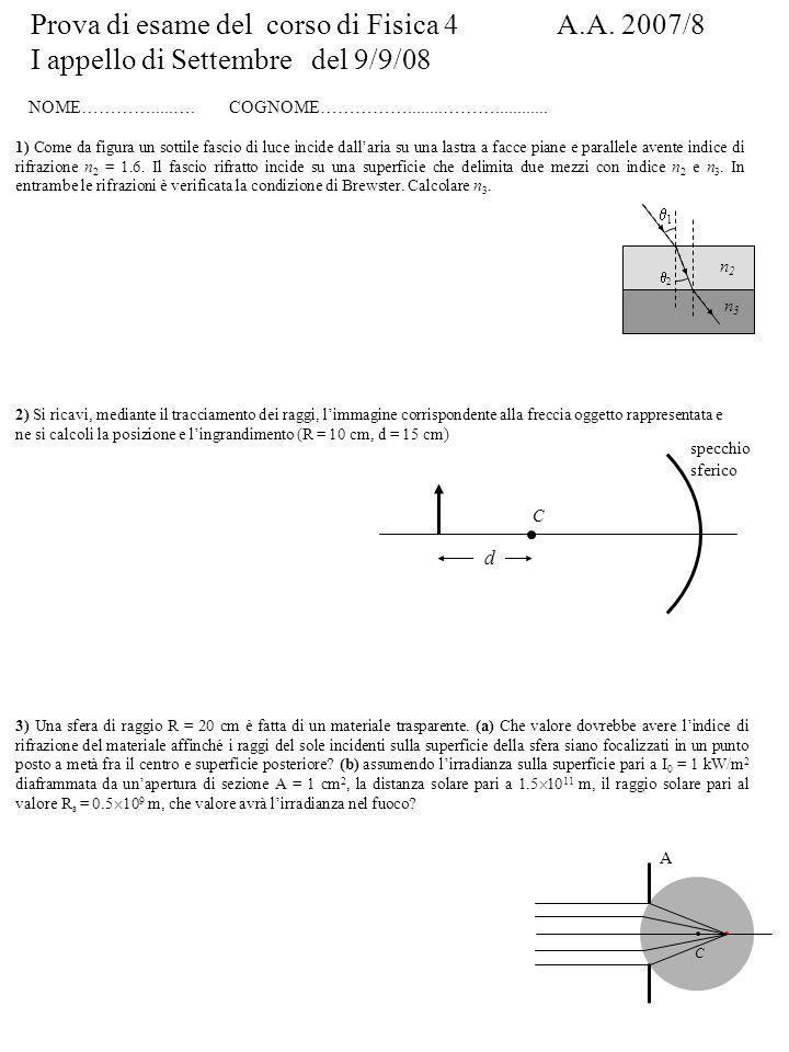 Prova di esame del corso di Fisica 4 A.A. 2007/8 I appello di Settembre del 9/9/08 NOME………….....….