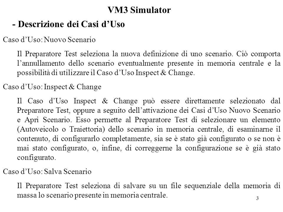 3 VM3 Simulator - Descrizione dei Casi dUso Caso dUso: Nuovo Scenario Il Preparatore Test seleziona la nuova definizione di uno scenario.