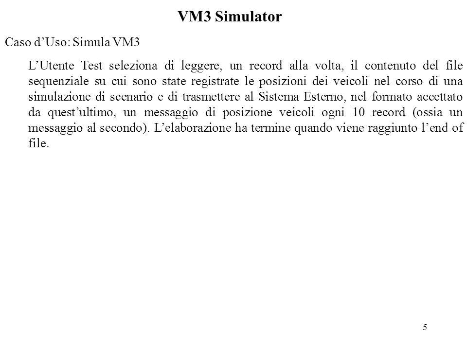 6 VM3 Simulator -Requisiti di dettaglio Caso duso: Inspect & Change Il numero massimo di veicoli configurabili è 100 per un massimo di 100 traiettorie diverse.