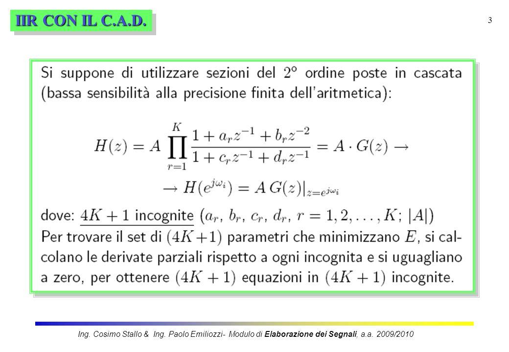 3 IIR CON IL C.A.D. Ing. Cosimo Stallo & Ing. Paolo Emiliozzi- Modulo di Elaborazione dei Segnali, a.a. 2009/2010