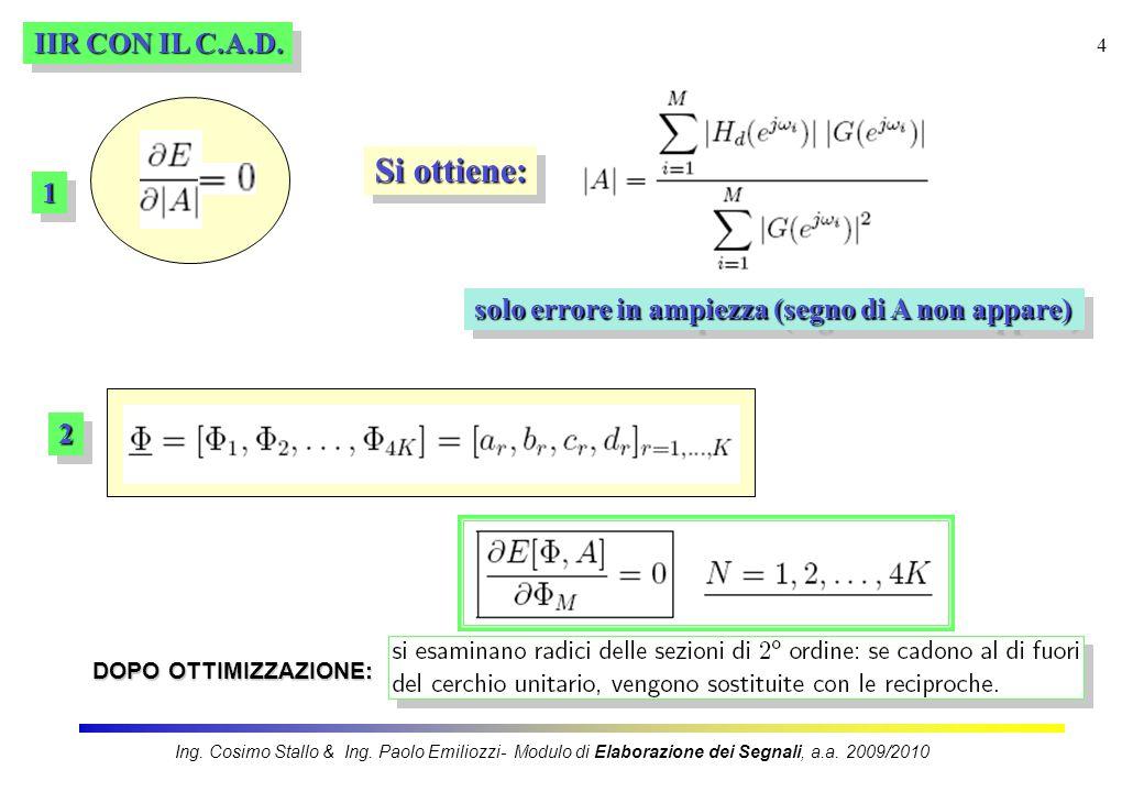 5 IIR CON IL C.A.D.Minimizzazione di errore di ordine p oppureoppure Ing.