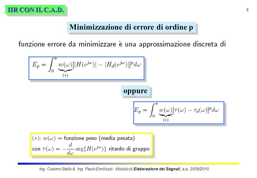 5 IIR CON IL C.A.D. Minimizzazione di errore di ordine p oppureoppure Ing. Cosimo Stallo & Ing. Paolo Emiliozzi- Modulo di Elaborazione dei Segnali, a