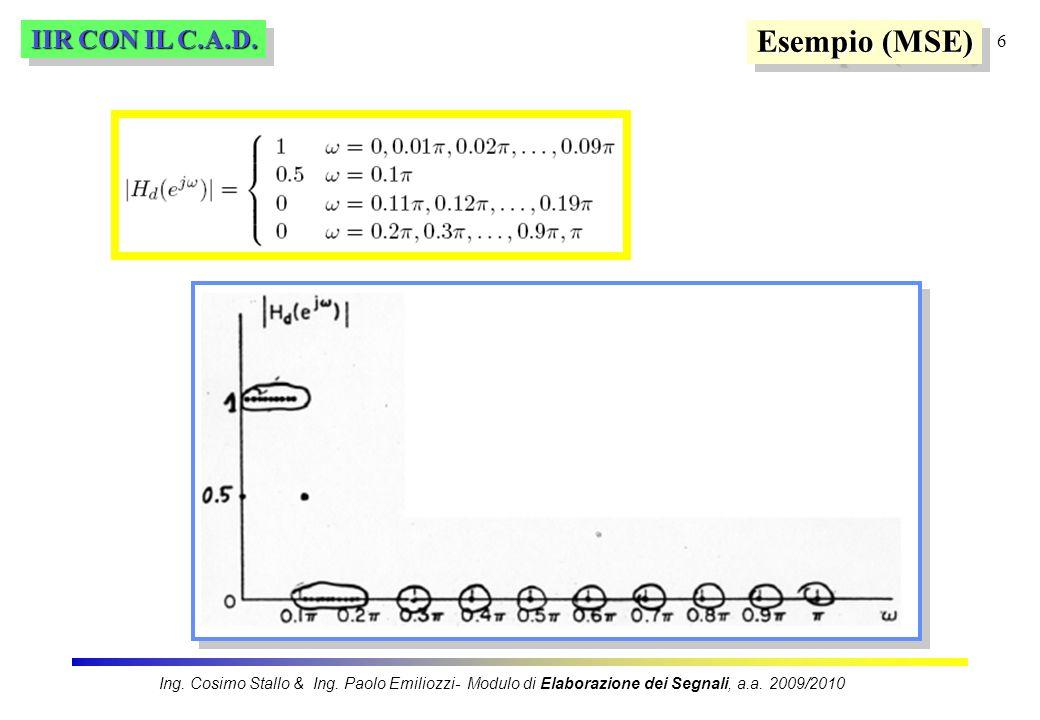 6 IIR CON IL C.A.D. Esempio (MSE) Ing. Cosimo Stallo & Ing. Paolo Emiliozzi- Modulo di Elaborazione dei Segnali, a.a. 2009/2010