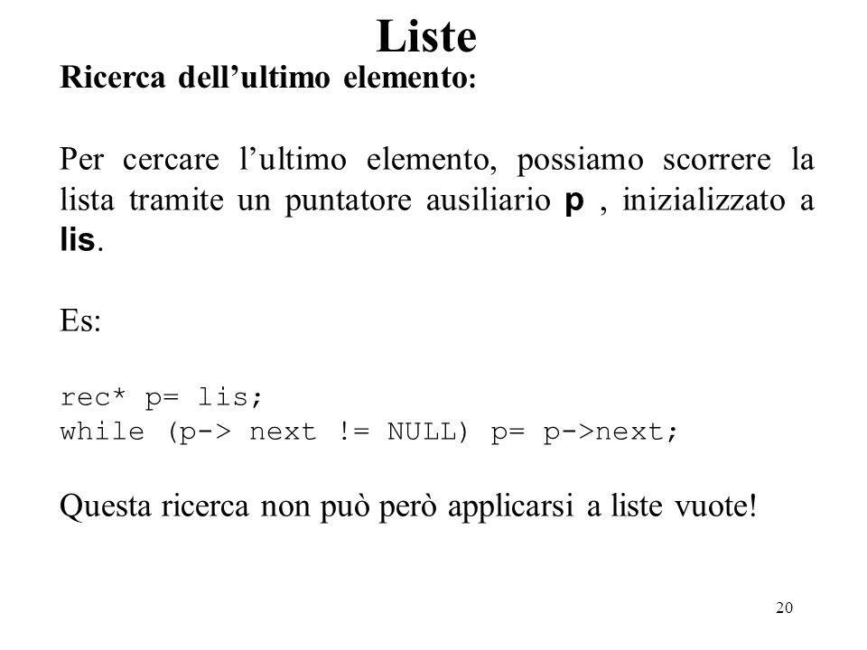 20 Liste Ricerca dellultimo elemento : Per cercare lultimo elemento, possiamo scorrere la lista tramite un puntatore ausiliario p, inizializzato a lis