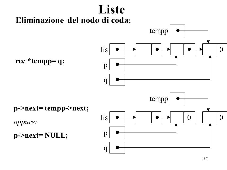37 Liste Eliminazione del nodo di coda : 0 lis p q 00 p q tempp rec *tempp= q; p->next= tempp->next; oppure: p->next= NULL; tempp