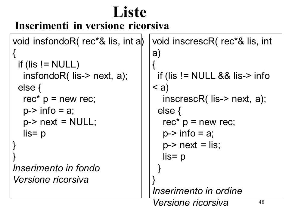 48 Inserimenti in versione ricorsiva Liste void insfondoR( rec*& lis, int a) { if (lis != NULL) insfondoR( lis-> next, a); else { rec* p = new rec; p-
