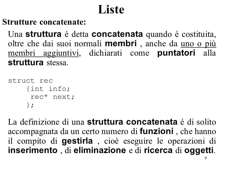9 Liste Strutture concatenate: Una struttura é detta concatenata quando é costituita, oltre che dai suoi normali membri, anche da uno o più membri agg