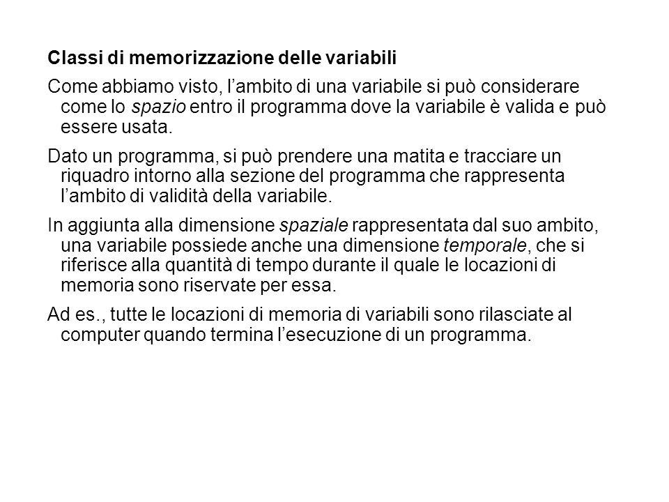 Classi di memorizzazione delle variabili Come abbiamo visto, lambito di una variabile si può considerare come lo spazio entro il programma dove la var