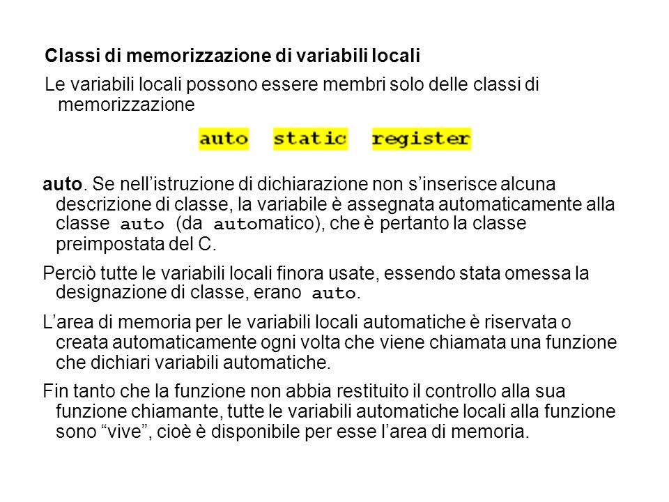 Classi di memorizzazione di variabili locali Le variabili locali possono essere membri solo delle classi di memorizzazione auto. Se nellistruzione di
