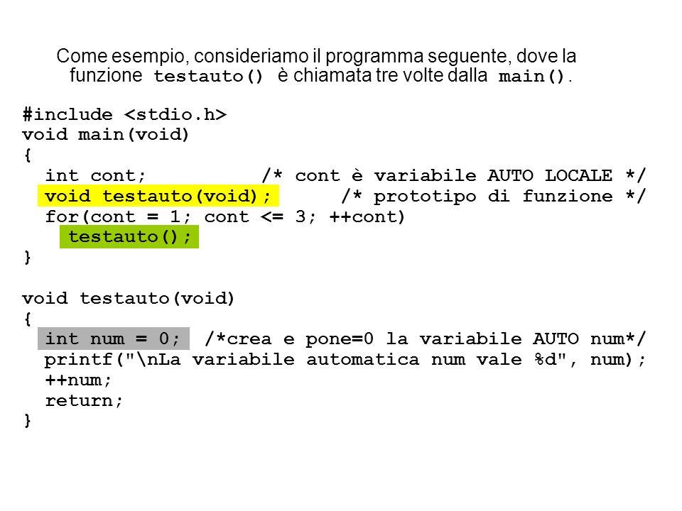 #include void main(void) { int cont; /* cont è variabile AUTO LOCALE */ void testauto(void); /* prototipo di funzione */ for(cont = 1; cont <= 3; ++co