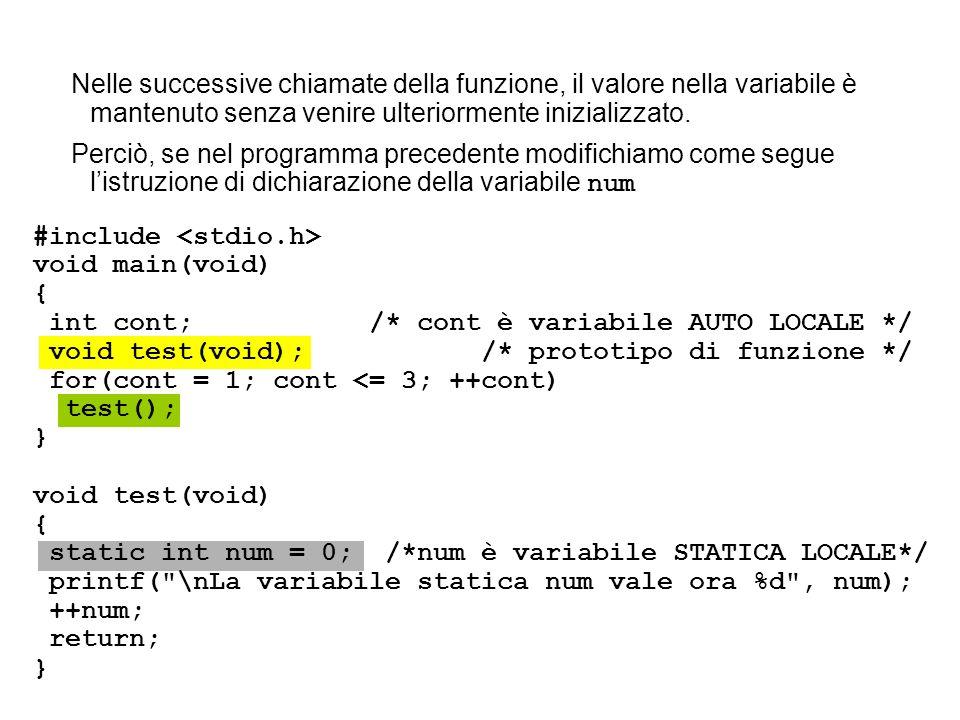 Nelle successive chiamate della funzione, il valore nella variabile è mantenuto senza venire ulteriormente inizializzato. Perciò, se nel programma pre