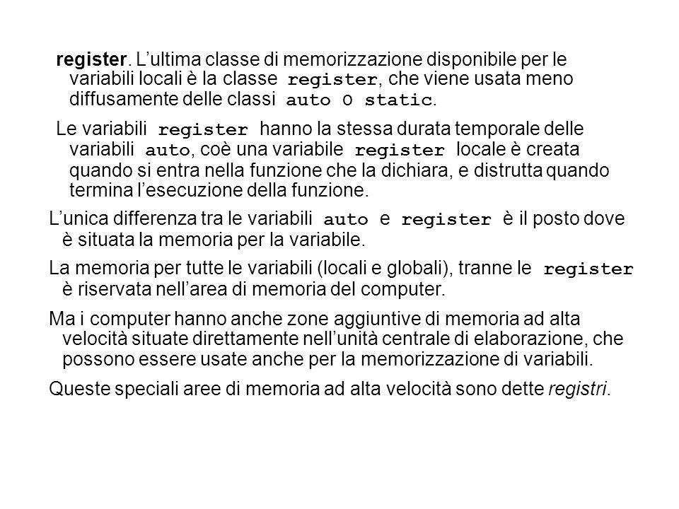 register. Lultima classe di memorizzazione disponibile per le variabili locali è la classe register, che viene usata meno diffusamente delle classi au