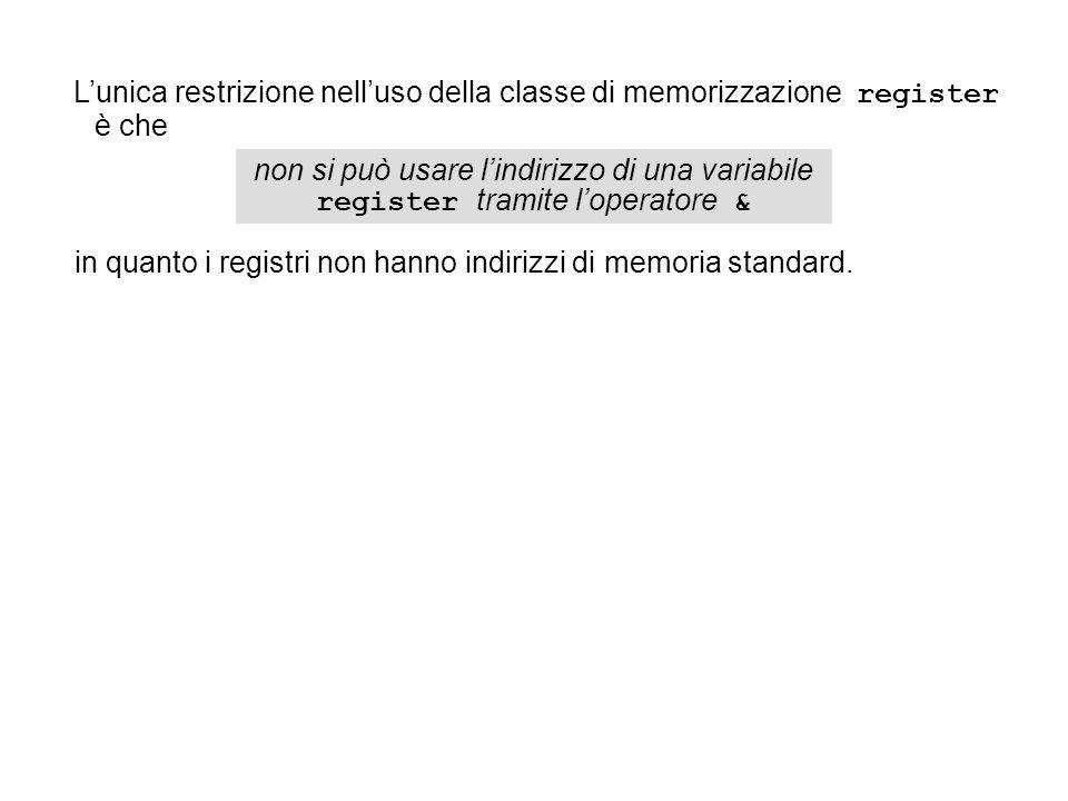 Lunica restrizione nelluso della classe di memorizzazione register è che non si può usare lindirizzo di una variabile register tramite loperatore & in