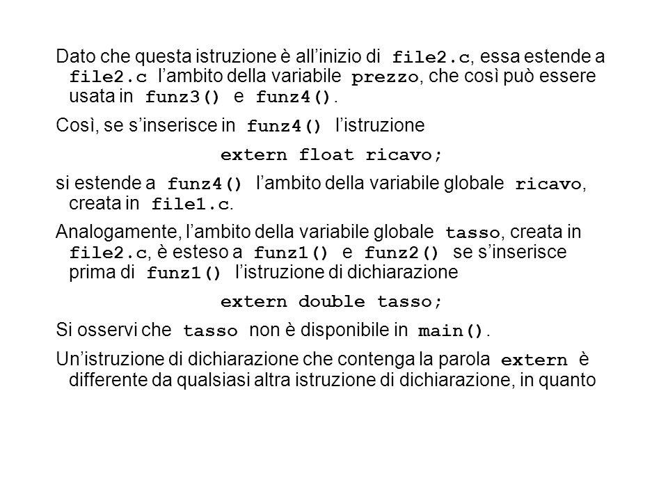 Dato che questa istruzione è allinizio di file2.c, essa estende a file2.c lambito della variabile prezzo, che così può essere usata in funz3() e funz4