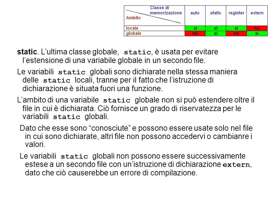 static. Lultima classe globale, static, è usata per evitare lestensione di una variabile globale in un secondo file. Le variabili static globali sono
