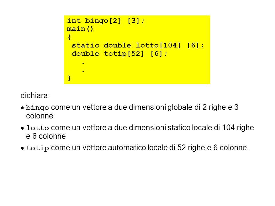 int bingo[2] [3]; main() { static double lotto[104] [6]; double totip[52] [6];. } dichiara: bingo come un vettore a due dimensioni globale di 2 righe