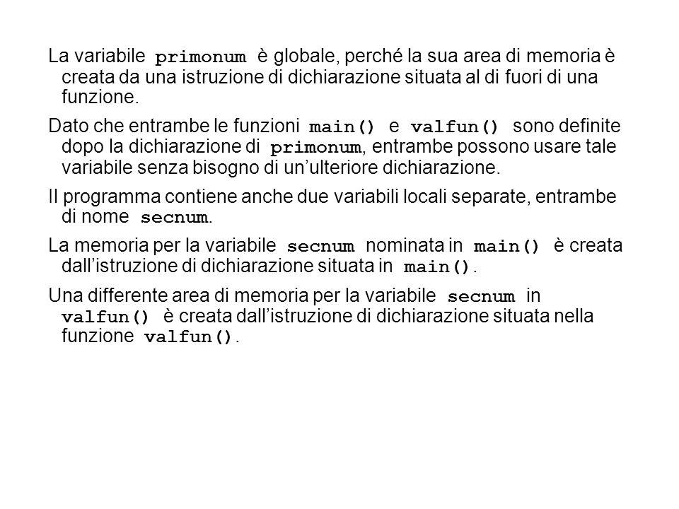 La variabile primonum è globale, perché la sua area di memoria è creata da una istruzione di dichiarazione situata al di fuori di una funzione. Dato c