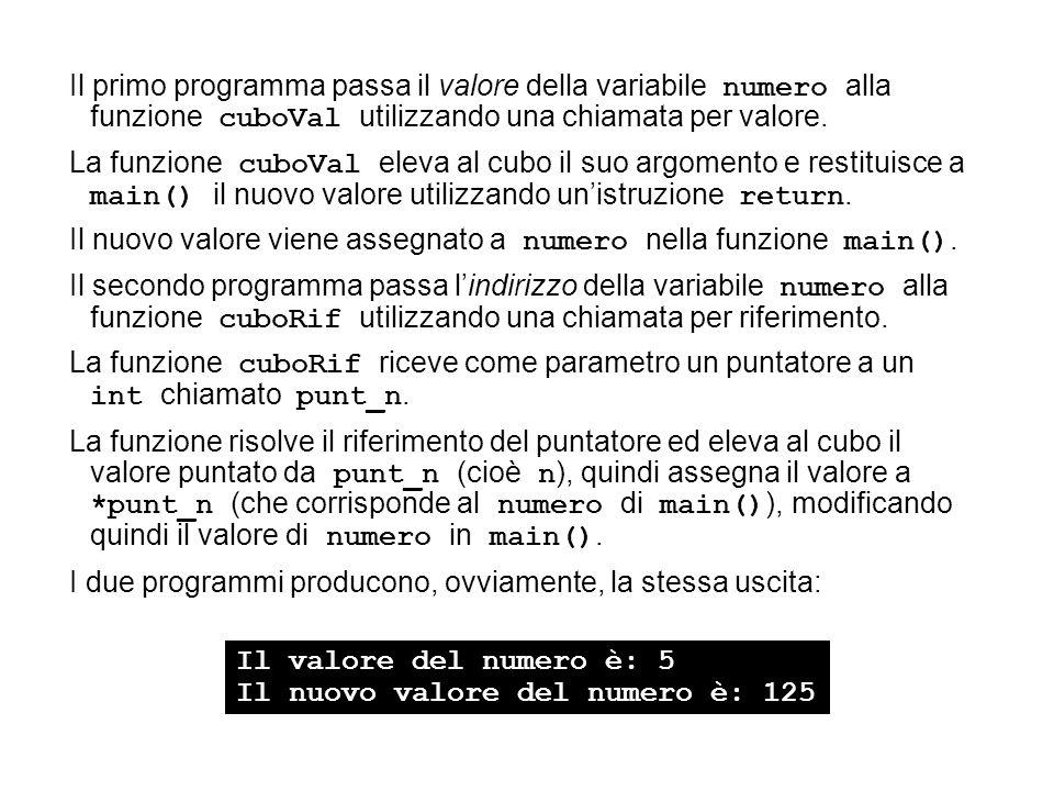 Il primo programma passa il valore della variabile numero alla funzione cuboVal utilizzando una chiamata per valore. La funzione cuboVal eleva al cubo