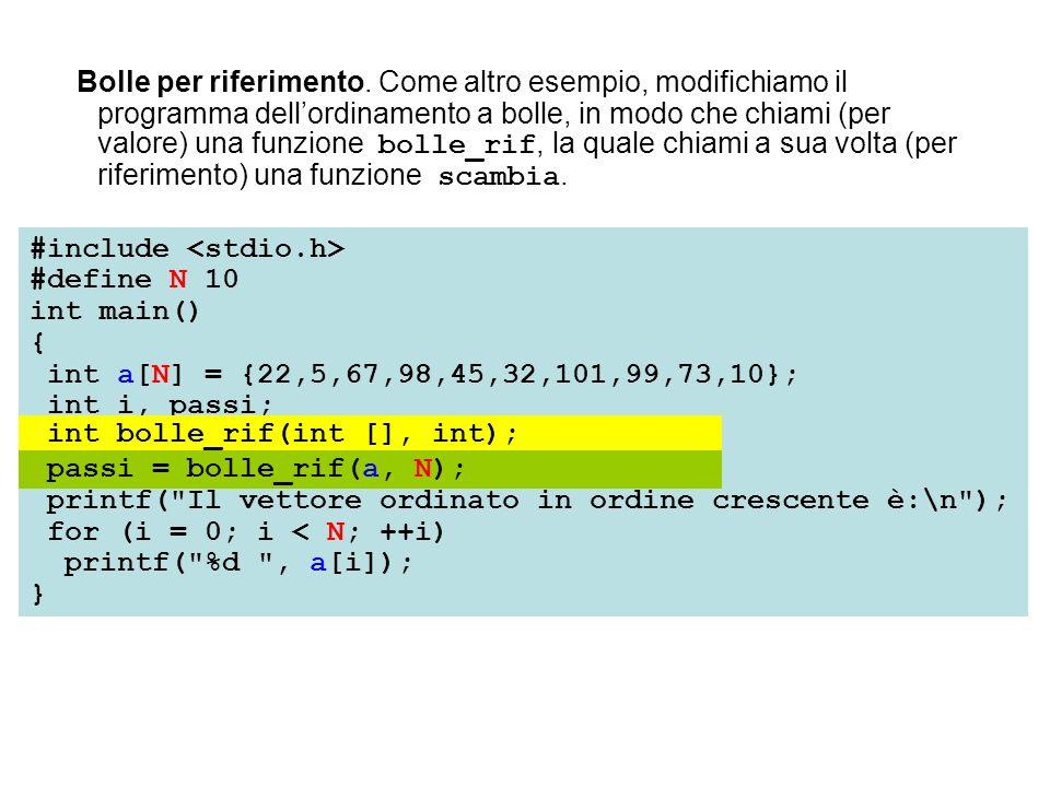 Bolle per riferimento. Come altro esempio, modifichiamo il programma dellordinamento a bolle, in modo che chiami (per valore) una funzione bolle_rif,