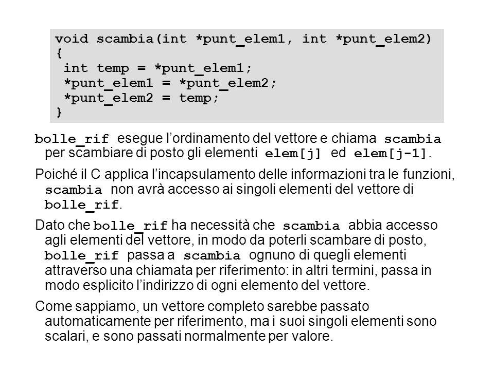 bolle_rif esegue lordinamento del vettore e chiama scambia per scambiare di posto gli elementi elem[j] ed elem[j-1]. Poiché il C applica lincapsulamen
