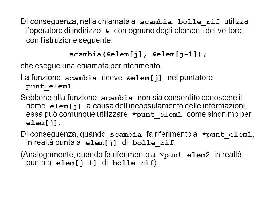 scambia(&elem[j], &elem[j-1]); che esegue una chiamata per riferimento. La funzione scambia riceve &elem[j] nel puntatore punt_elem1. Sebbene alla fun