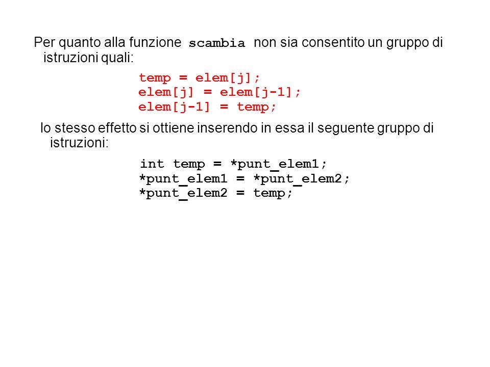 temp = elem[j]; elem[j] = elem[j-1]; elem[j-1] = temp; lo stesso effetto si ottiene inserendo in essa il seguente gruppo di istruzioni: int temp = *pu