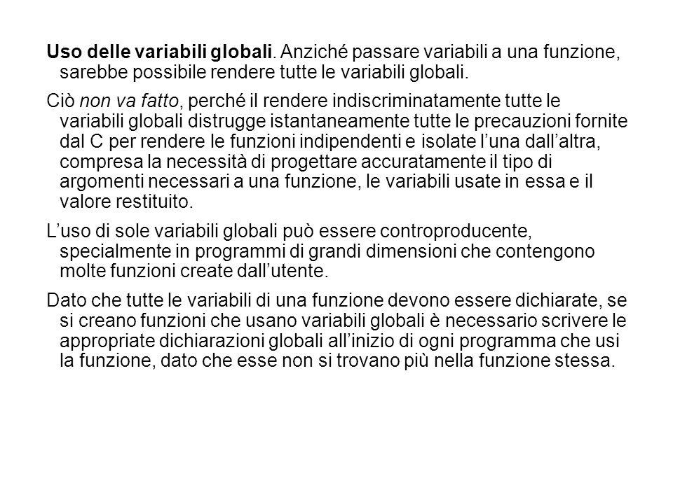 Uso delle variabili globali. Anziché passare variabili a una funzione, sarebbe possibile rendere tutte le variabili globali. Ciò non va fatto, perché