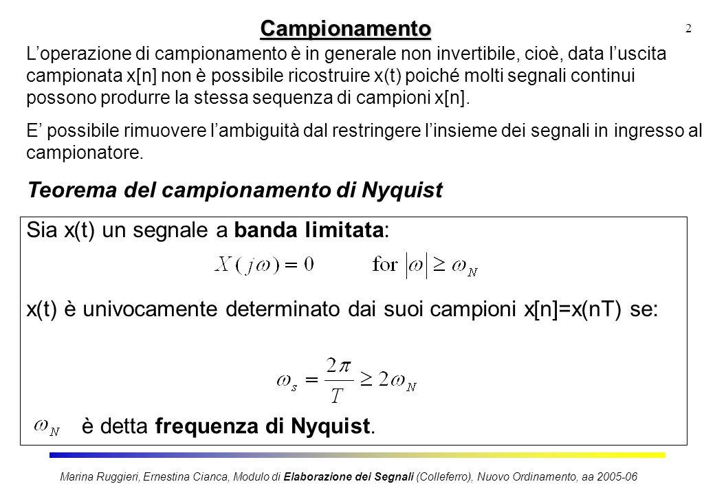 2Campionamento Loperazione di campionamento è in generale non invertibile, cioè, data luscita campionata x[n] non è possibile ricostruire x(t) poiché