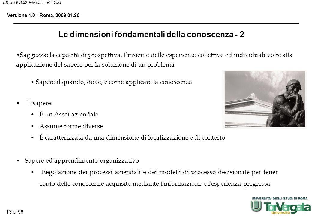 12 di 96 DM– 2009.01.20- PARTE I I– rel. 1.0.ppt Versione 1.0 - Roma, 2009.01.20 Le dimensioni fondamentali della conoscenza - 1 Dati: flusso di event