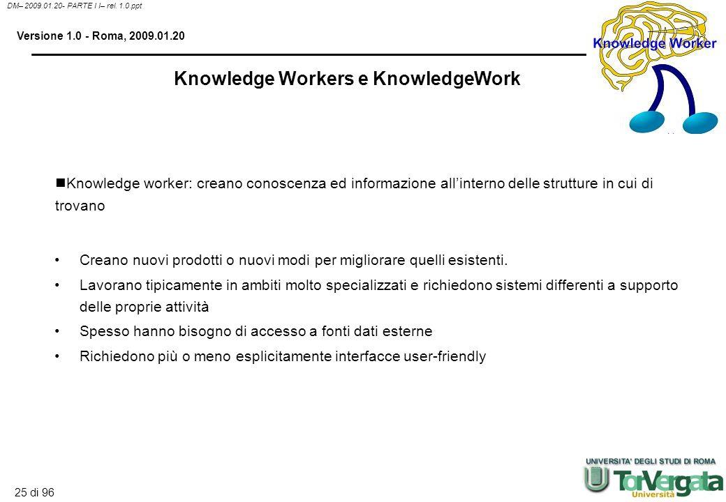 24 di 96 DM– 2009.01.20- PARTE I I– rel. 1.0.ppt Versione 1.0 - Roma, 2009.01.20 Fornisce tool per la gestione, la delivery, il tracking e la valutazi